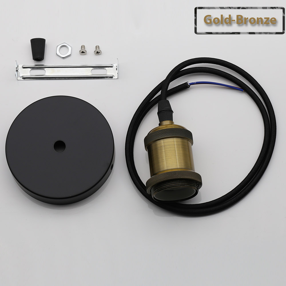 Винтажные подвесные светильники E27 патрон лампы 110V 220V винт переключения установки e27 Цоколи лампы Ретро держатель лампы edison - Цвет: Gold Bronze