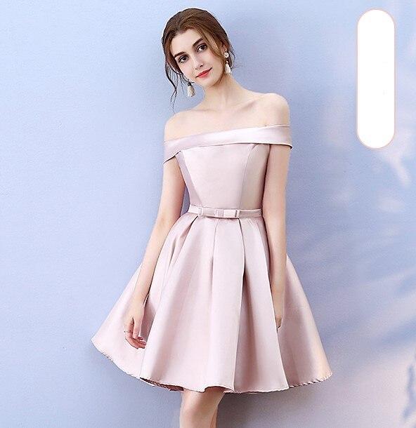 Red Bean Pink  Mini Dress New Women's  Satin Bridesmaid Dress  Wedding Banquet  Back Of Bandage
