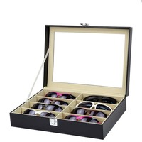 8 Girds Sunglasses Display Box Wood Eyeglasses Case Storage For Eyewear Organizer with Clear Glass Lid Decent Organization