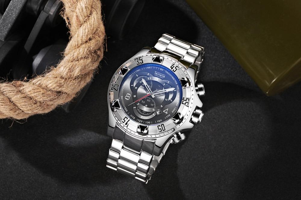 19 Top Brand Luxury Mens Oversize Watch Gold Business Steel Quartz Clock Waterproof Sport Military Chronograph Male Wristwatch 38