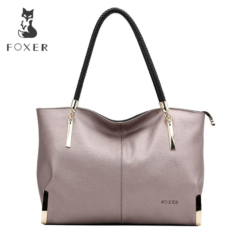 FOXER Women Handbags Cow Leather Shoulder Bag Fashion Top-Handle Tote Women Bags Luxury High Quality Large Capacity Bag Gift
