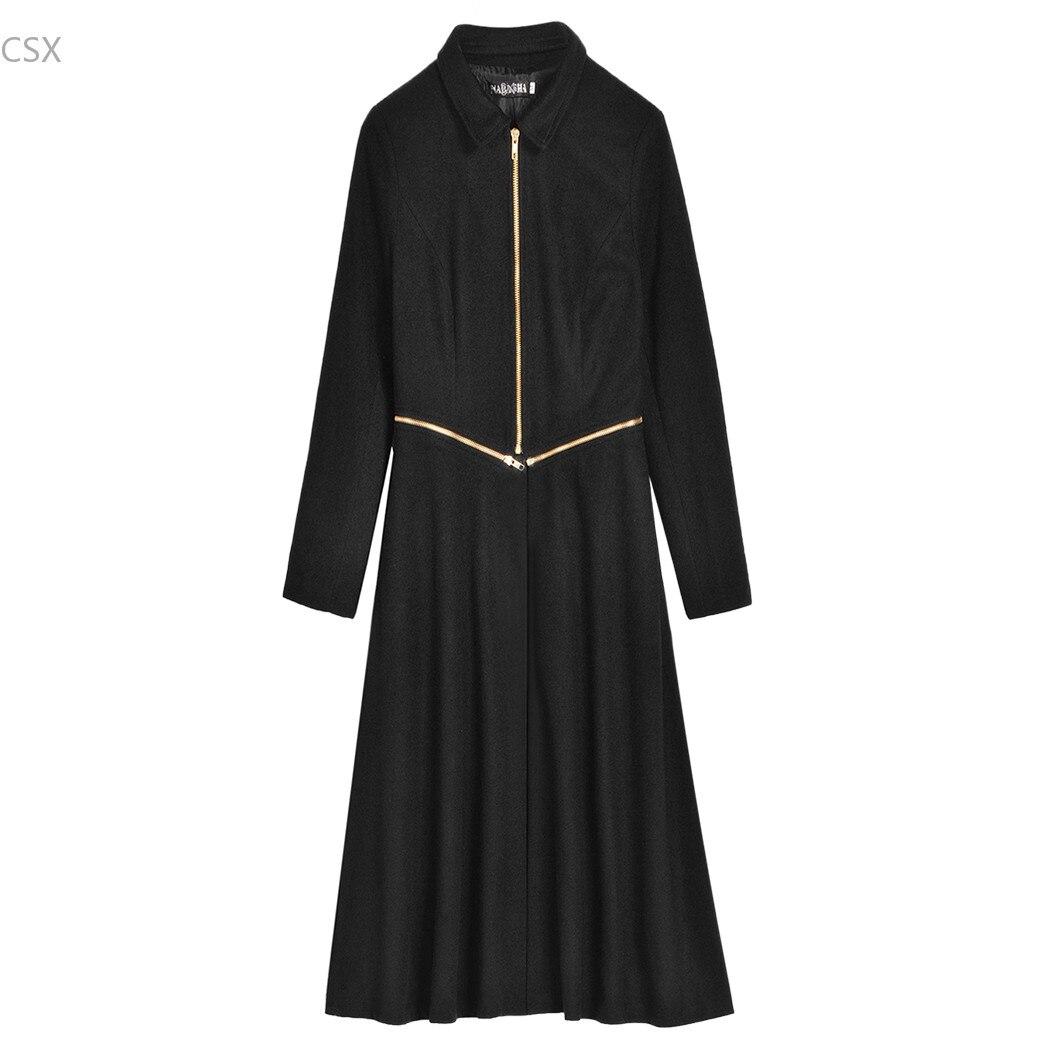Zipper 2 De Tranchée Mwoiiowm Longue Manteau Façon Femme Collier Patchwork Stand Pardessus Noir Vêtements Black Mode Femmes Chic Dames Maxi E778q6w