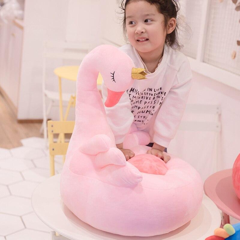 1pc 60cm dessin animé mignon enfants canapé chaise en peluche siège bébé nid sommeil lit adulte oreiller en peluche cygne Flamingo paon jouets en peluche - 2
