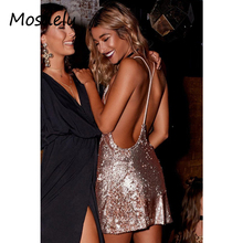 Mosdelu Sexy Sequined party dresses women open back deep v neck bodycon dress vintage summer dress vestidos robe