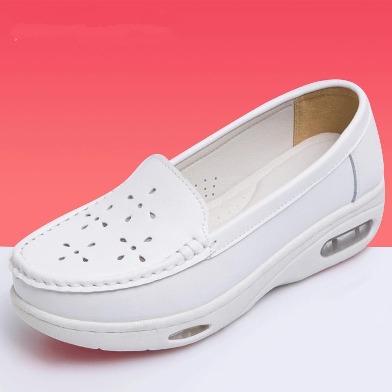 Sur Casual forme Été floral Pour Chaussures Femme White Mocassins smooth Marche Slip Femmes Plate Sneakers 2018 Infirmière Automne White Dames White Appartements Cutout Lace Blanc tAxwrqAv6