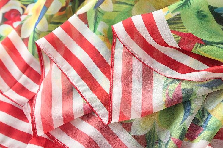 2018 été plage décontracté plus récent Spaghetti Strrap Slash cou perroquet imprimé coloré Silm mi-mollet Expansion longue robe femmes - 4