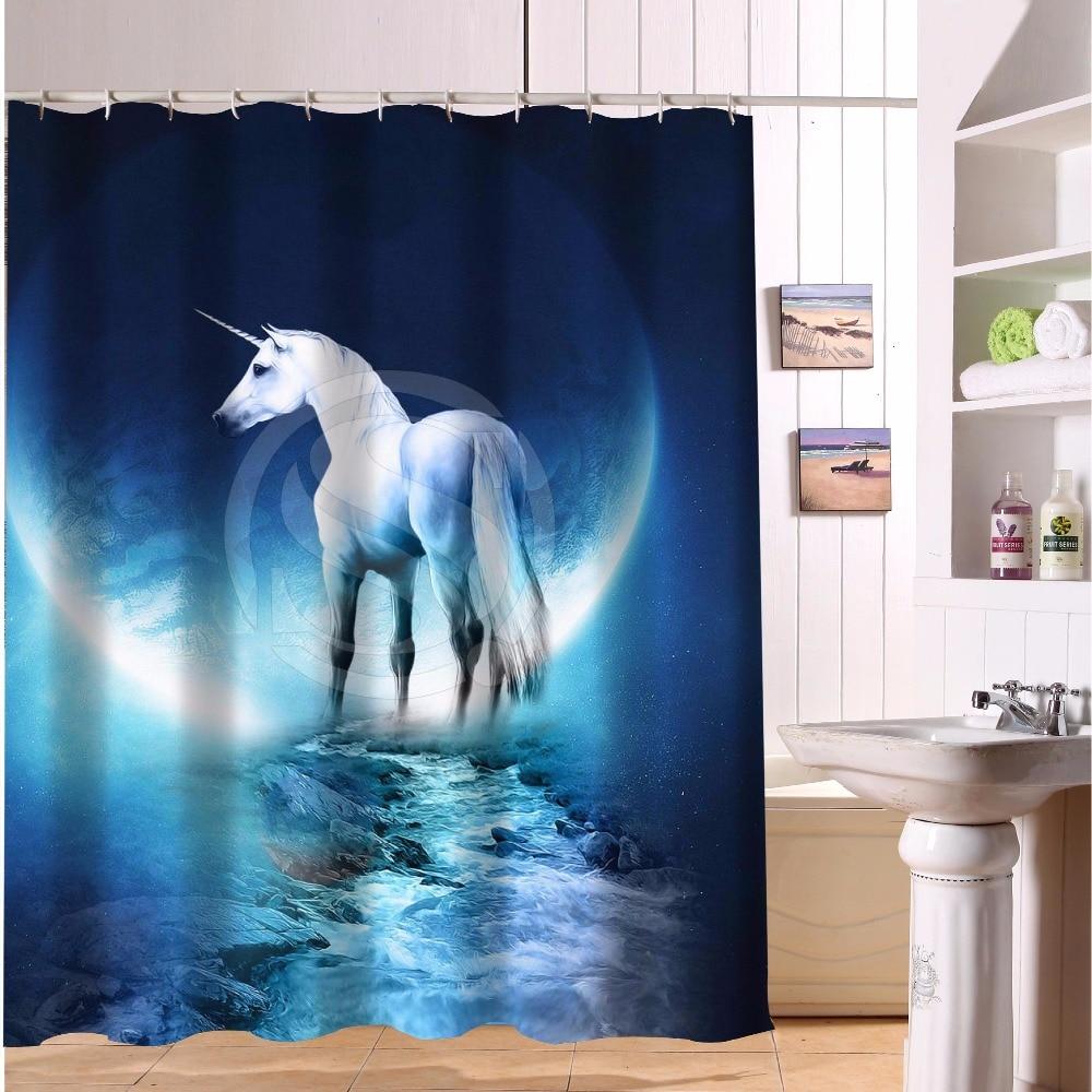 Custom Polyester Waterproof Fabric Bath Curtains Unicorn horse ...
