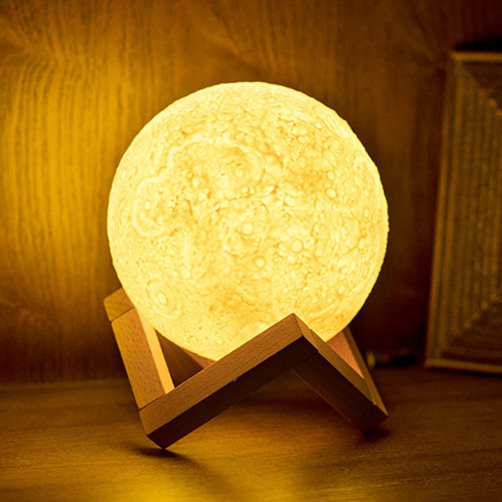 ITimo 3D Druck Magische Mond FÜHRTE Nachtlicht Moonlight Schreibtischlampe USB Wiederaufladbare 2 Farbwechsel für Dekoration Weihnachten