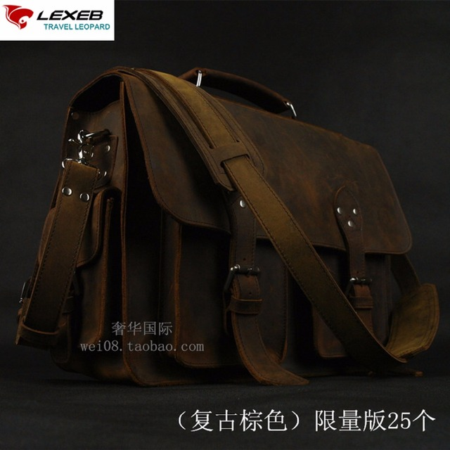 "Mens Genuine Leather Briefcases Vintage LEXEB Luxury Designer Crazy Horse Business Bag Men 15"" Laptop High Quality Shoulder Bags"