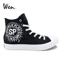Wen Women Men Vulcanize Shoes Design Simple Plan Canvas Sneakers Black High Top Cross Straps Espadrilles Flat Loafers Plimsolls