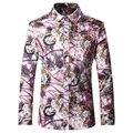 2016 Новые Цветочные Рубашки Осенняя Мода Повседневная Дизайнерский Бренд Сорочка Homme T0070