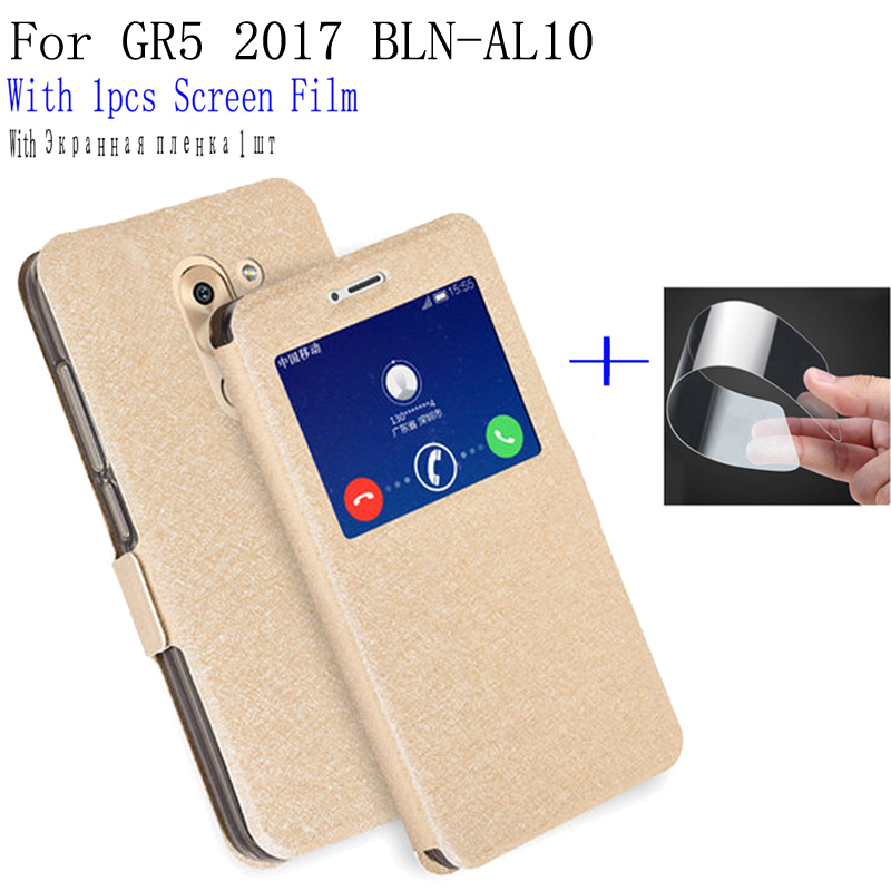 Smart view window case For Huawei GR5 <font><b>2017</b></font> Phone Back Cover flip PU leather Case For Huawei <font><b>GR</b></font> <font><b>5</b></font> <font><b>2017</b></font> BLN-AL10 shell cover capas image