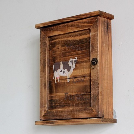 Gentil Vintage Retro Wooden Key Box Storage Key Hanger Rack Wall Rack Wood Key  Cabinet Racks Cow
