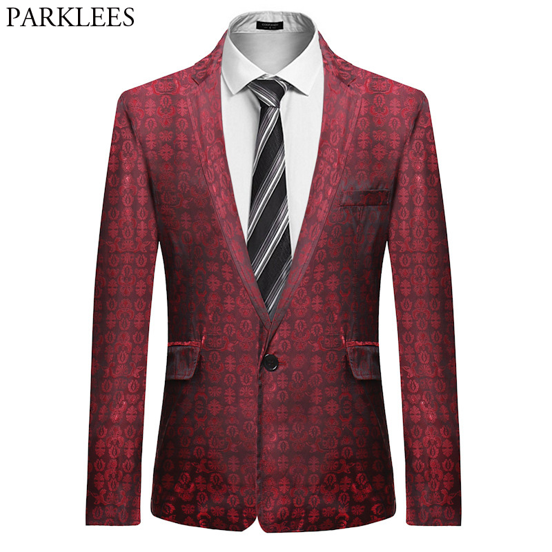 Red Floral Suit Blazer Men 2018 Brand New Slim Fit Single Breasted One Button Blazer Jacket Wedding Party Prom Stage Costumes