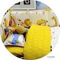 100% algodón cuna bedding set recién nacido edredón sábana cubierta de funda de almohada a cuadros amarillo y patrón zoo