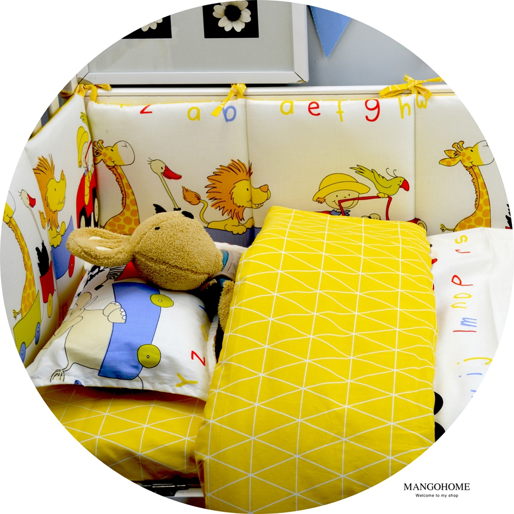 Baby bed sheet pattern - 100 Cotton Baby Crib Bedding Set Newborn Quilt Cover Bed Sheet Pillowcase Yellow Plaid And Zoo Pattern