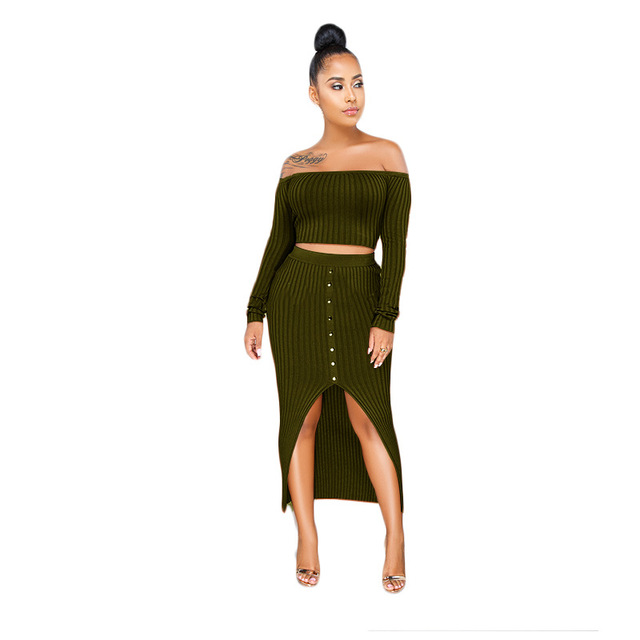 69fcd5dcb5 2019 new winter long sleeve off shoulder crop top knitted slit irregular  midi maxi skirts 2pcs bodycon sexy women's set K9296