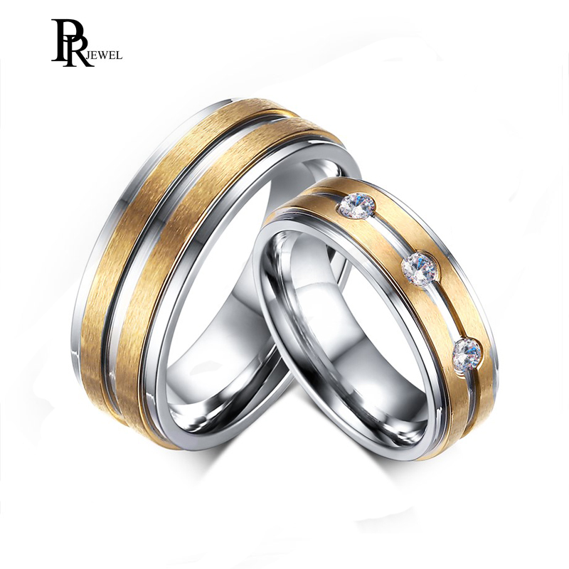 Stainless Steel Gold Silver Tone Couple Lover Mens Womens Rhinestones Band Rings Wedding Engagement Promise Ring ...