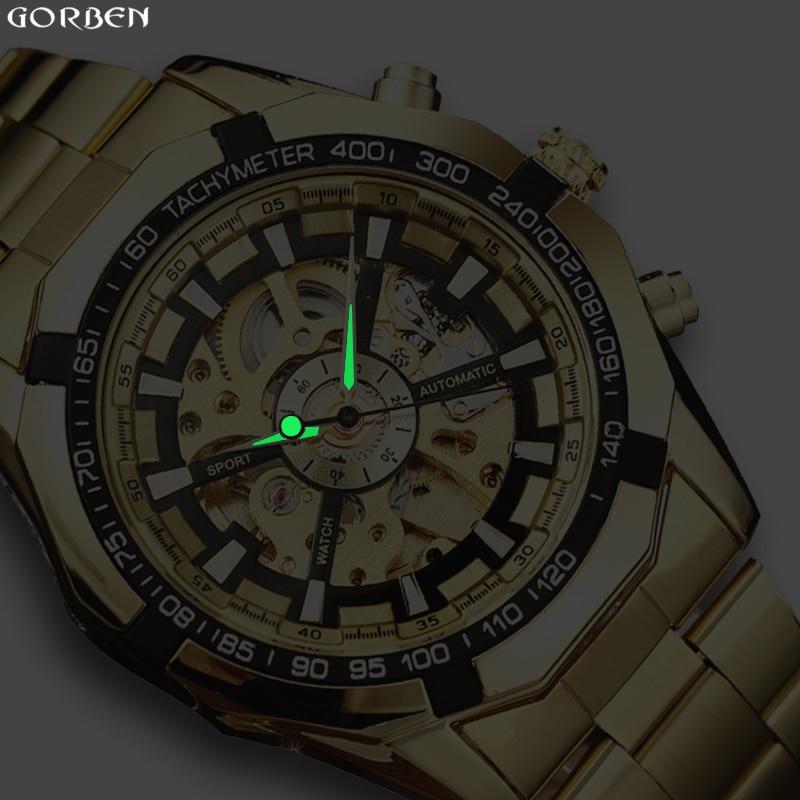 cf57df999a3 Venda quente de Luxo de Ouro Vencedor Luminosa Mecânico Automático de  Esqueleto Dial Pulseira de Aço Inoxidável Homens Banda Relógio De Pulso  Presente ...
