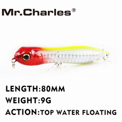 Mr. charles CMC025A 80mm 9g Top Água Popper Flutuante Iscas De Pesca Isca De Pesca 3D Olhos Qualidade Profissional Equipamento De Pesca