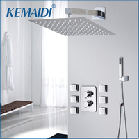 KEMAIDI Shower Head Wall Mounted Square Style Brass Rainfall Shower Set Factory Direct New Rainfall Bathroom Shower Kit