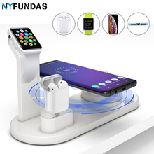 Carregador sem fio qi 4 em 1, suporte para apple watch series 5 4 3 2 iwatch airpods iphone 11 estação de dock pro max xs max xr x