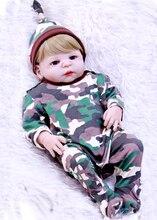 55CM Full Silicone Reborn babies dolls bebe alive bb reborn classic boy toy  safe vivid Xmas birthday gift bonecas toy