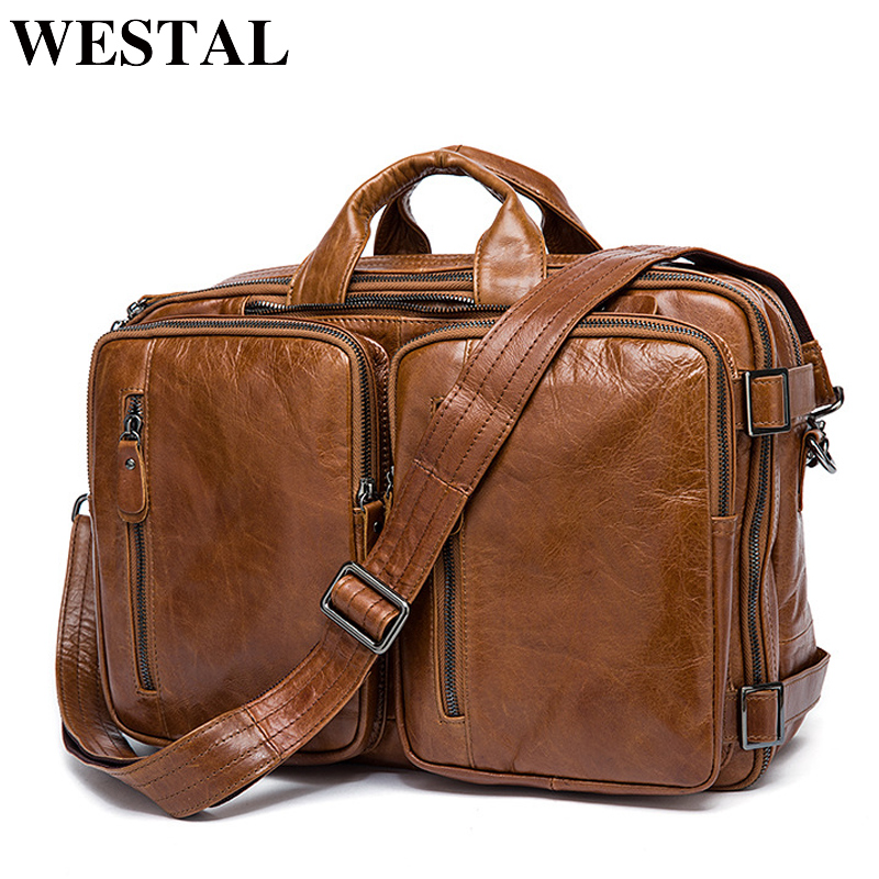 WESTAL Hommes de Serviette Fourre-Tout hommes messenger sac d'ordinateur portable de voyage sac pour hommes document d'affaires porte-documents En Cuir mâle Véritable en cuir