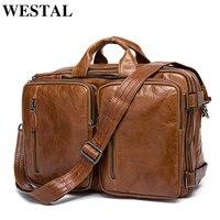 WESTAL męska Teczka Dźwigać mężczyźni torba podróżna torba na laptop dla mężczyzn dokument biznesu teczki Skórzane męskie ze skóry naturalnej