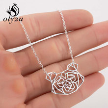 Oly2u Animal Dog Necklace For Women Chokers Necklaces Stainless Steel Pendant Necklace Long Chain collier femme Jewelry(China)