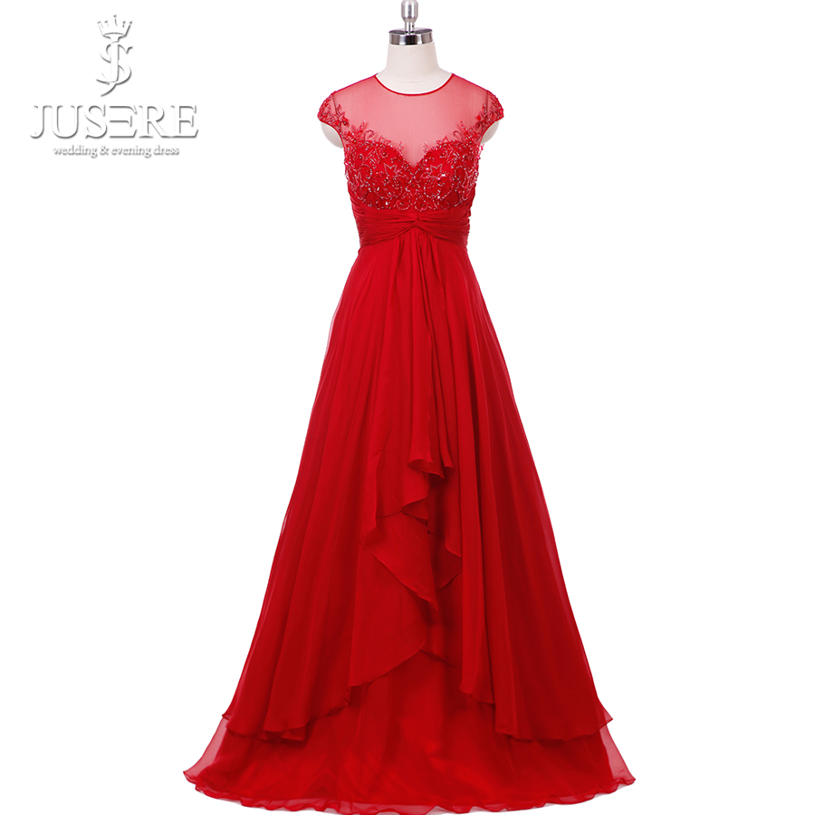 Vestidos De Formatura In Stock Scoop Illusion Neckline Keyhole Back Bodice Beading Sequins Chiffon Prom Dress Elegant Red Gown