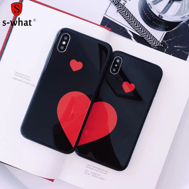 8882f3f7d9 Splice Love Heart Tempered Glass Case For Apple iPhone X 8 7 6S 6 Plus  Couple Lovers Patterned Capa Back Shell Cover