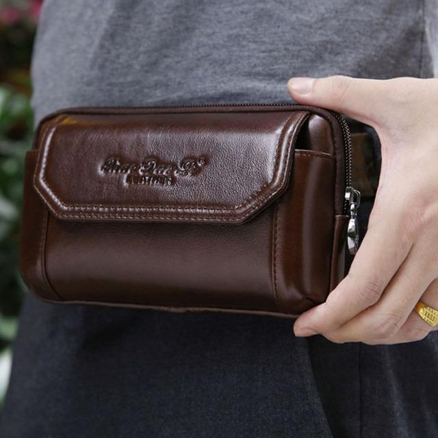 Homens couro genuíno Real do couro celular Mobile Phone Case capa bolsa de cigarro dinheiro Hip cinto Fanny bolsa bolsa de cintura pai presente