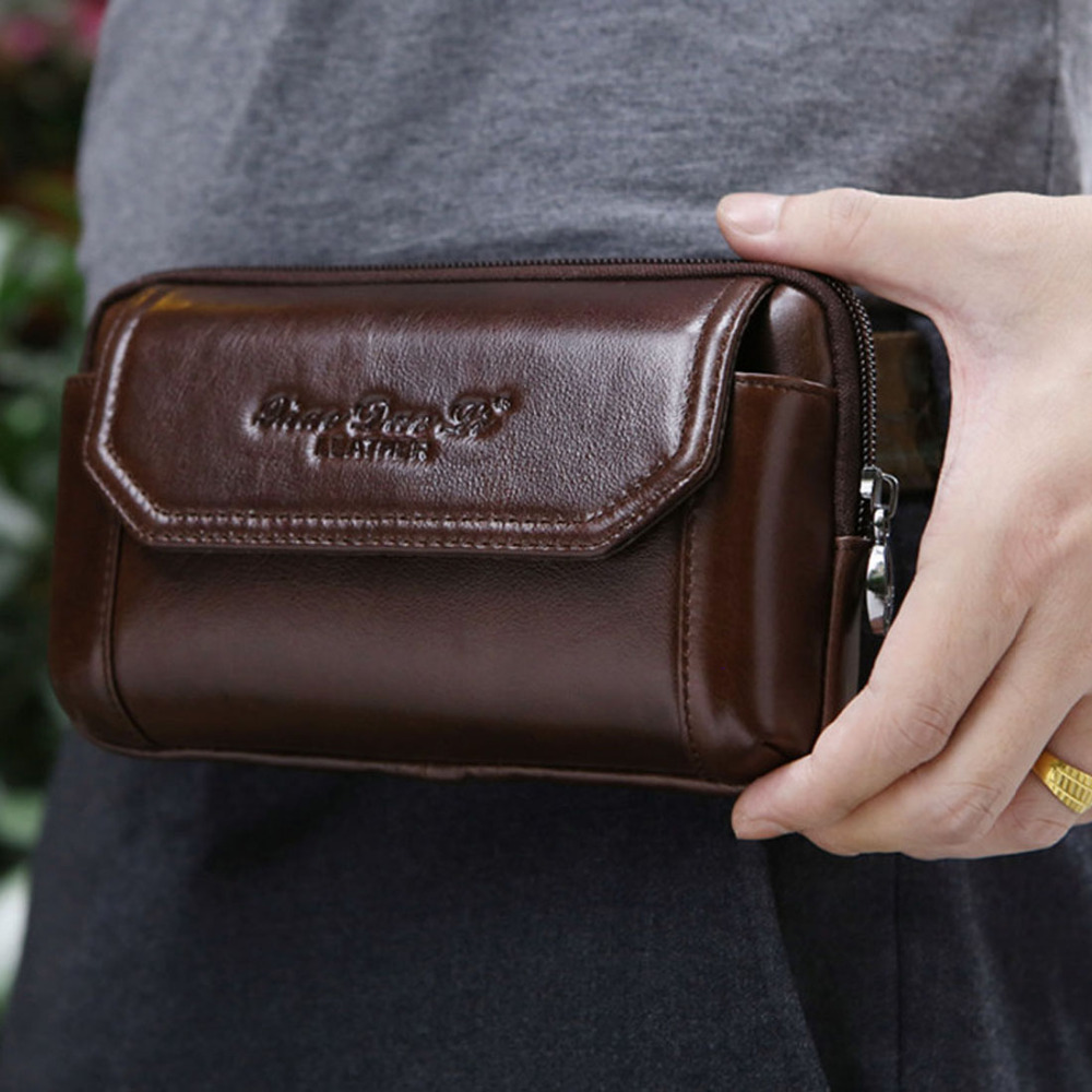 Men Genuine Leather Real Cowhide Cell Mobile Phone Case Cover Purse Cigarette Money Hip Belt Fanny Bag Waist Pack Father Gift