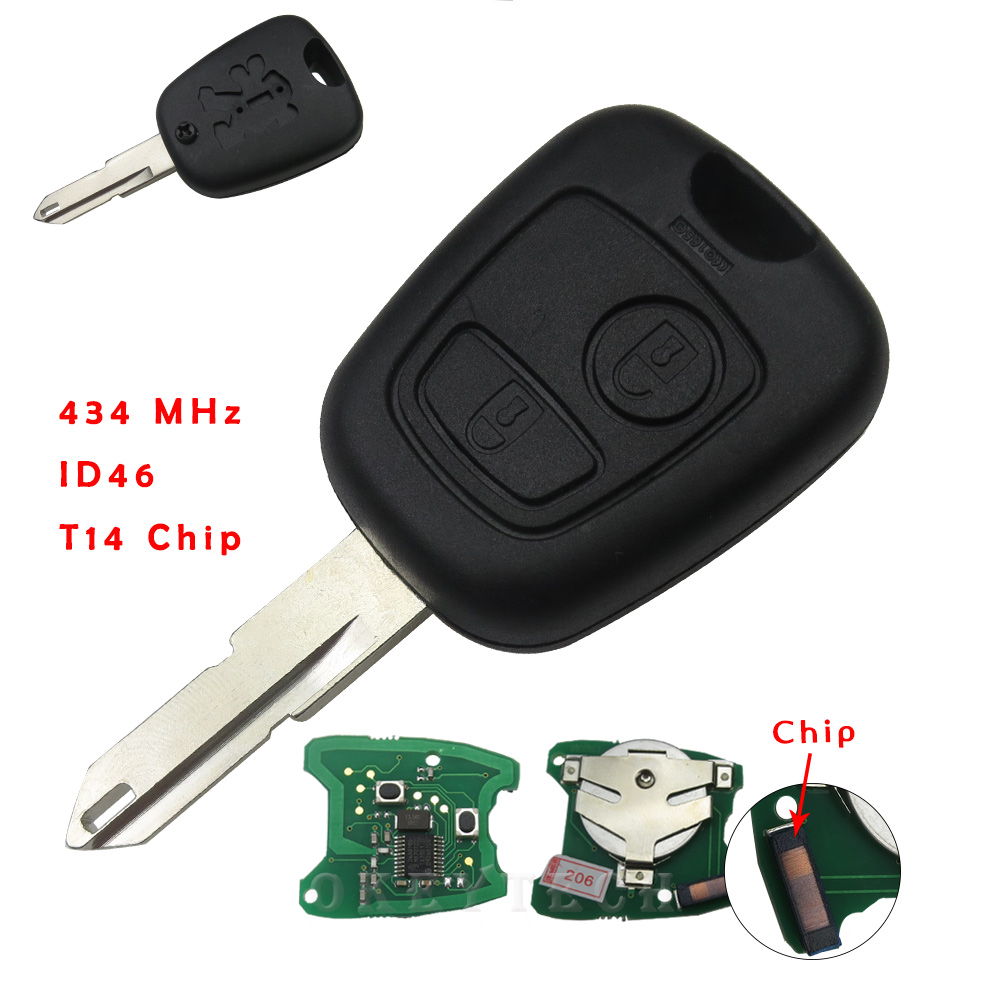high quality 2 buttons fit for peugeot 206 remote key