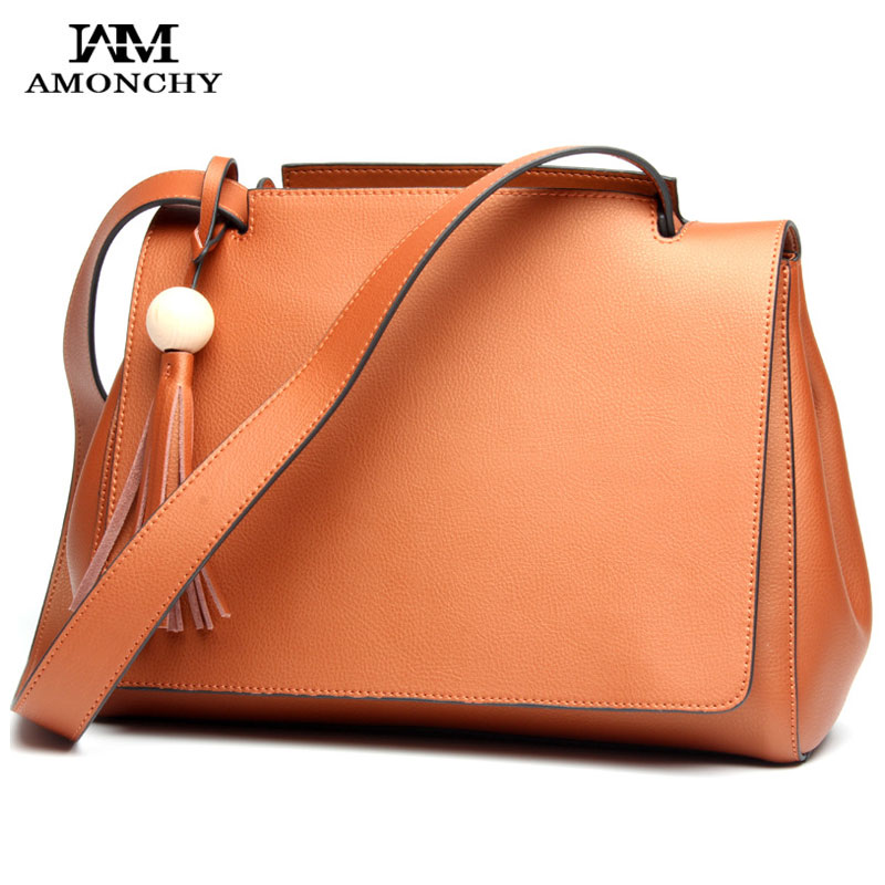 2018 Designer Brand Genuine Leather Women Bags Tassel Women's Shoulder Bags Popular Ladies Handbags Luxury Cowhide Messenger Bag 2017 new female genuine leather handbags first layer of cowhide fashion simple women shoulder messenger bags bucket bags