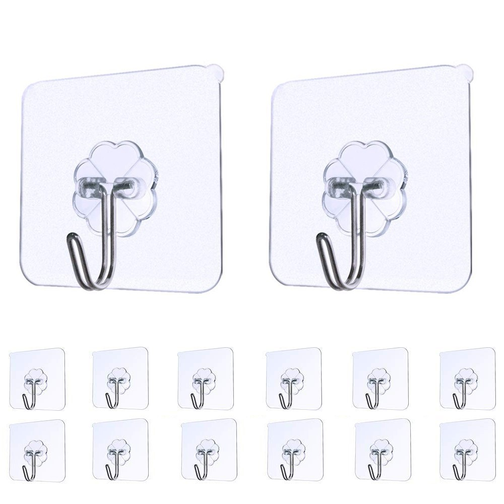 14Pcs/Set Strong Sticky Transparent Seamless Adhesive Wall Hooks Hanger Kitchen Bathroom Bedroom Convenience Super Sticky Hooks