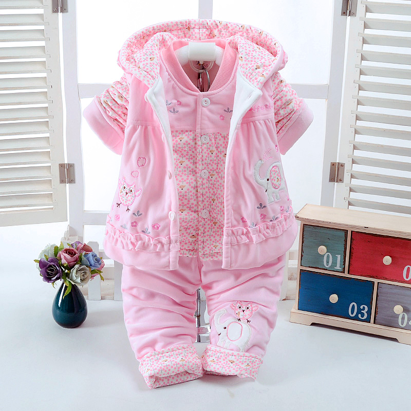 New Autumn & Winter Pink Baby Girl Clothes Add Cotton-Padded Warm Soft 0-1-2 Years Newborn Infant Baby 3Pcs/Set Walking Dress 2017 new baby winter romper cotton padded thick newborn baby girl warm jumpsuit autumn fashion baby s wear kid climb clothes