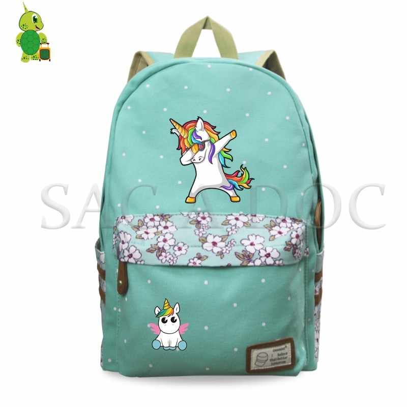 6c46d07db187 Dabbing Unicorn Backpack Girls Flower Wave Point School Backpack Funny  Laptop Backpack Fashion Travel Bags Casual Backpack