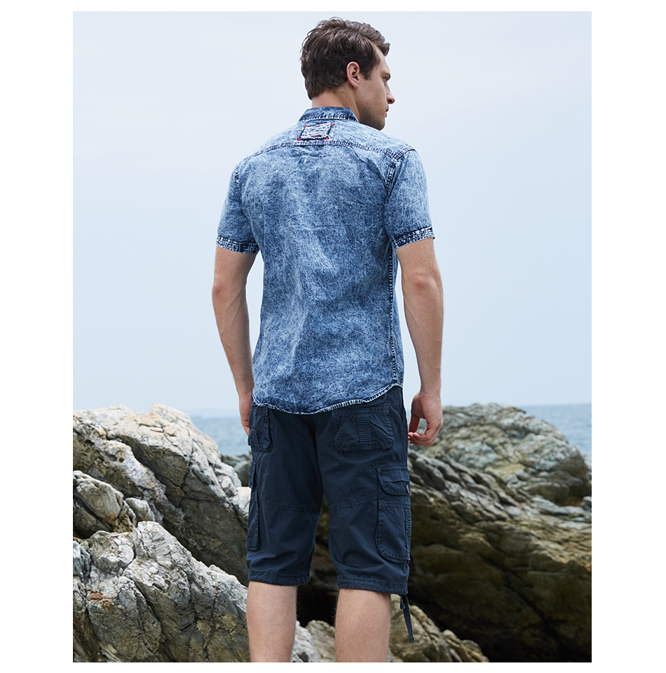 FREDD MARSHALL High Quality Men's Casual Short Sleeves Denim Shirt