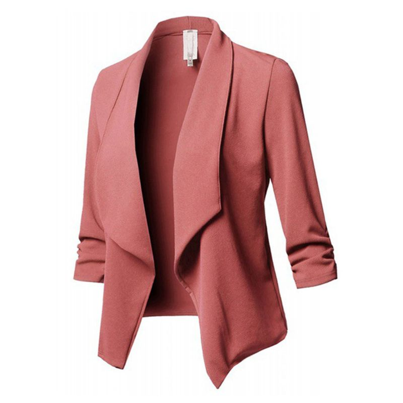 Womens Three-Quarter Sleeve Office Lapel Coat Open Front Cardigan Jacket Solid