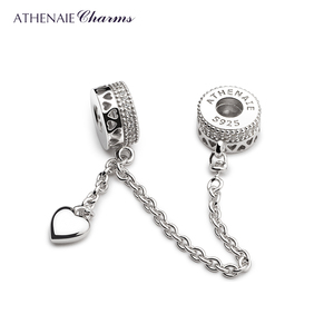 Image 2 - ATHENAIE 925 Sterling Silver Clear CZ Forever Love Hearts Safety Chain Charms Beads DIY Jewelry Fit European Bracelets Bangle