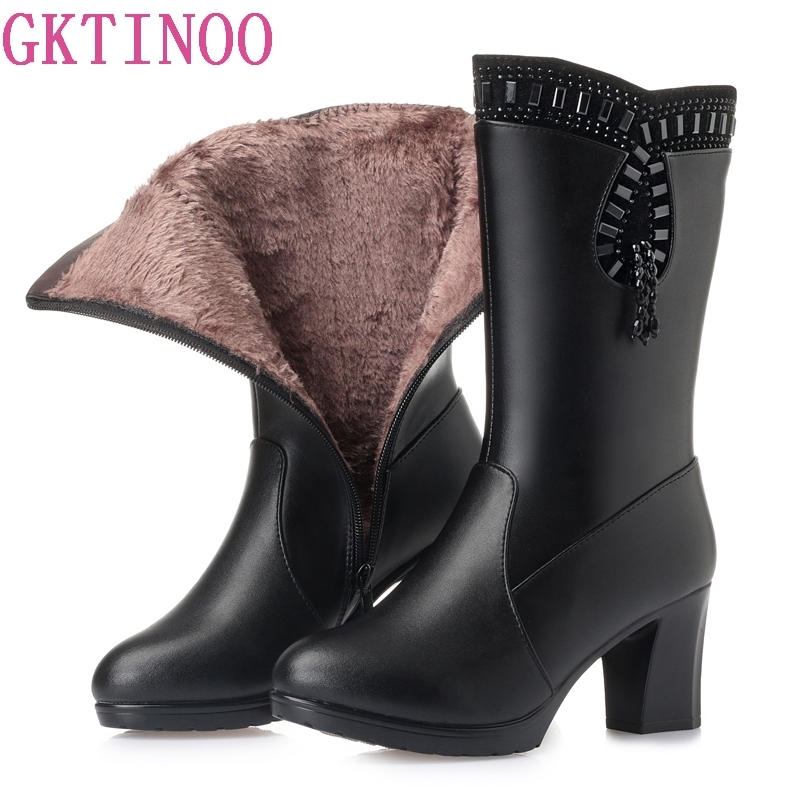 GKTINOO New Women Winter Snow Boots Mid-Calf Thick High Heels Genuine Leather Shoes Women Warm Plush&Wool Boots Ladies Plus Size ekoak new 2017 winter boots fashion women boots warm plush mid calf boots ladies platform shoes woman rubber leather snow boots