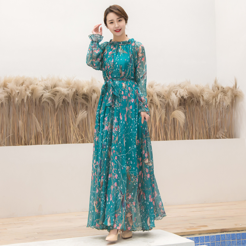 Plus Size Long Sleeve Bohemia Floral Beach Maxi Dress Summer Casual Loose Dresses Lightweight Sexy Chiffon