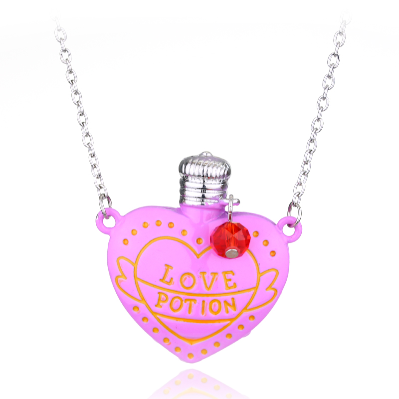 Gaming Series New Popular 2 Colour Love Potion Heart Bottle  Accessories Creative Little Girls Jewelry Lover's Pendant Necklace