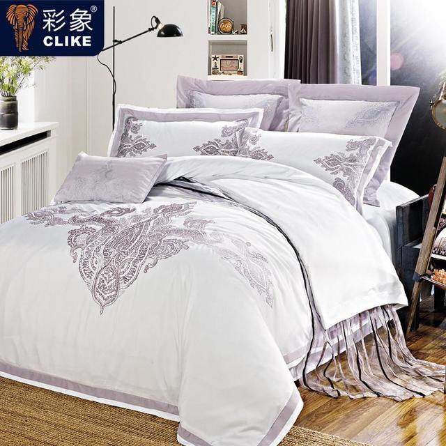 Fünf Sterne Hotel Weiße Luxus Beddinging Set 4 Stücke Baumwolle