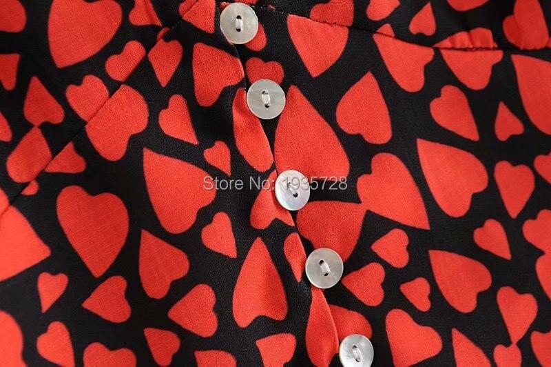 Et En Bouffantes Coeur Col Devant Profond V Manches Imprimer Boutonné Rouge Avec Amour Imprimé Top 2018 Chemise Blouse Peach New femmes 75g1xw