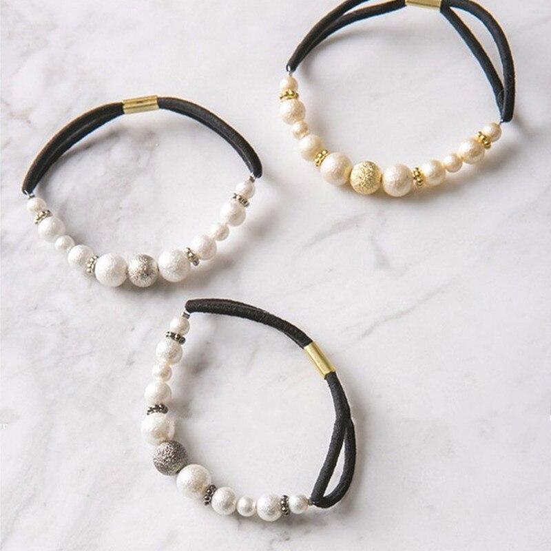 2018 moda dulce ponytail lindo mujeres niñas imitación helado perla ...