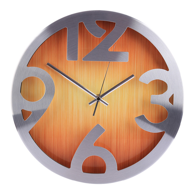 Homingdeco 12inch Wall Clocks Home Decor Vintage Modern Wood Grain Brief Mute Wall Clock Round Livingroom Hanging Clock