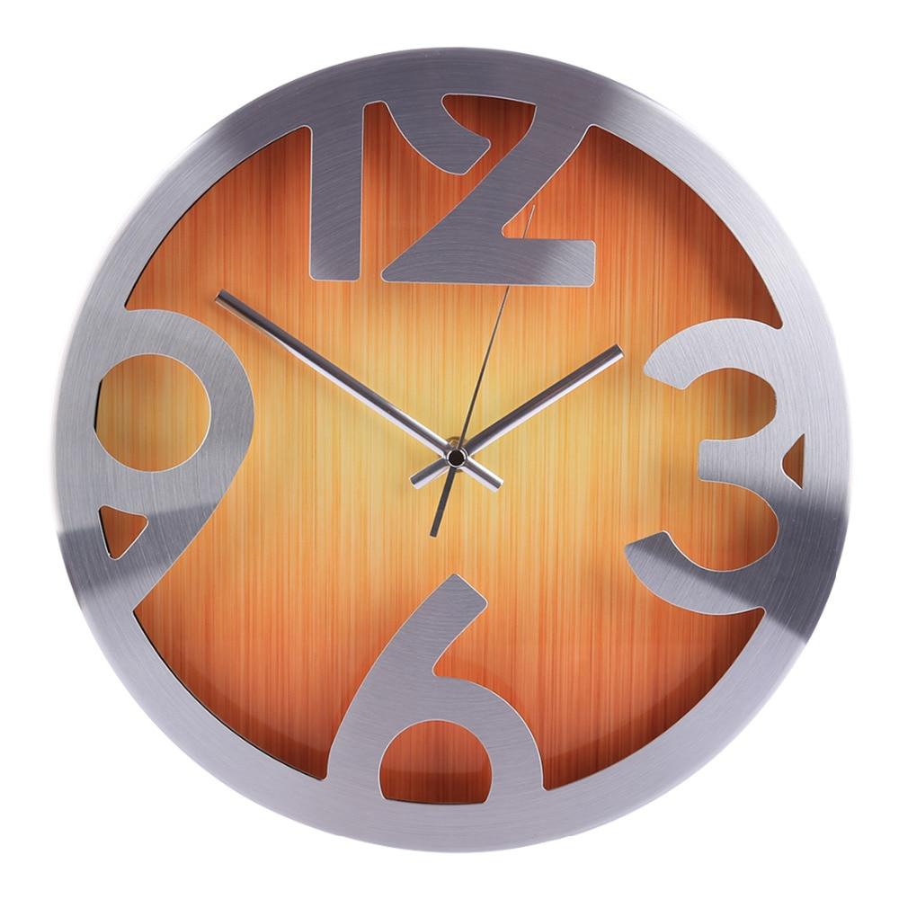Homingdeco 12inch Wall Clocks Home Decor Vintage Modern Wood Grain Brief Mute Wall Clock Round Livingroom Hanging Clock